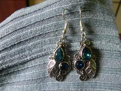 Gyönyörű kék topáz 925 st. ezüst fülbevaló