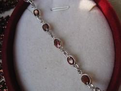 Antik ezüst karkötő vörös gránát kövekkel - 925