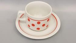 Régi Zsolnay piros pöttyös kávés csésze
