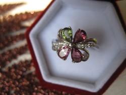 Szerencsehozó turmalin köves sterling ezüst gyűrű