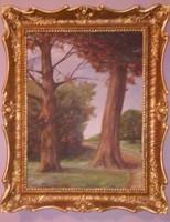 Antik ( olaj zsákvászon ) festmény - fák - blondel arany keretben
