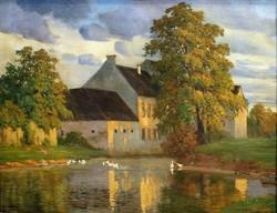 Tó kacsákkal,házzal,szignózott, nagyméretű festmény
