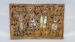 Retro Zsolnay nagyon ritka pirogránit falikép, a Család ,Fürtös Gy terve