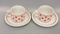 Régi Zsolnay piros pöttyös kávés csésze pár