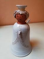 Bery jelzésű iparművész retro kerámia angyalka gyertyatartó