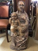 Eladó régi faszobor,Ülő nő gyerekkel a kézeben
