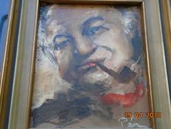 A híres CHURCHILL portré festője ARTHUR PAN SELF-PORTRAIT/PÁN ARTÚR-Őnarcképe(?)