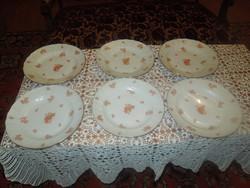 Antik, herendi orange lapos tányér készlet rocaille széllel