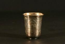 Antik Ezüst Orosz Pohár 84 Zolotnik Vésett Cizellált 19g 4,6cm 1887 Templom Kupica Feles Vodkás
