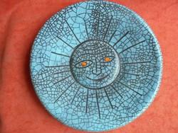 Iparművészeti zsűrizett kerámia fali tányér