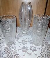 3 db ólomkristály váza
