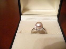 Ezüst gyöngyös gyűrű
