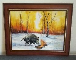 Januári délután, vadászfestmény ..olaj-vászon