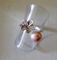 Tenyésztett igazgyöngy gyűrű, halvány lila .8USA méret Sterling ezüst