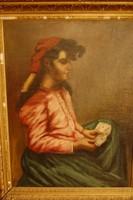 Sziklai Lajos: Cigánylány kártyával, olajfestmény