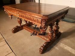 Antik, reneszánsz stílusú, dúsan faragott íróasztal!