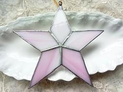 Tiffany rózsaszín üveg csillag karácsonyfa dísz