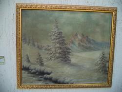 Téli tájkép Mednyanszky jelzéssel