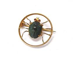 Rendkívüli Art Deco aranyozott ezüst pók kitűző!
