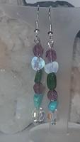 Smaragd, Opál , kristály és Türkiz  fülbevaló.