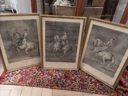 19.századi lovas metszet 3 db