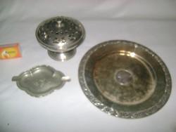 Bonbonier, falitányér, hamutál fémből