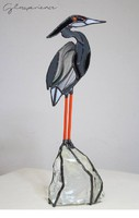 Szürke gém - ólomüveg szobor