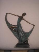 N14  Art decó bronz balerina szobor hibátlan nagyméretű ajándékozható ritkaság