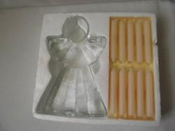 Angyal,puttó alakú üveg gyertyatartó, 20db gyertya