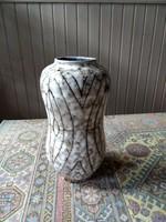 Drapp-barna-fehér rücskös mázas nagy méretű retró kerámia váza