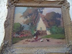 Falusi életkép Havelka festmény Baromfi etetés