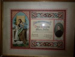 díszes szíjgyártó iparos elismerő oklevél 1921