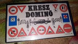 Régi retro nosztalgia játék Kresz dominó (triál) kevés hiánnyal