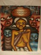 """"""" Afrikai csoport """" olaj-vászon festmény"""