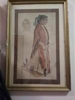 Festmény.Paczka Cornélia:Cigányasszonyn,48X33cm