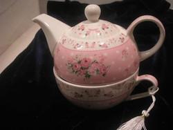 N14 Chinai porcelán ízléses teázó szett belül szűrős kiöntővel hibátlanul ajándékozhatóan eladó