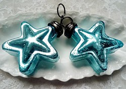 Üveg  karácsonyfa díszek 2db csillag 8,5cm-es