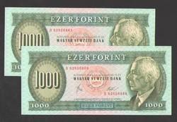"""1000 forint 1983 március """"B""""!! HAJTATLAN!! 2 db sorszám követő!! aUNC+!! EXTRÉM RITKA!!!! RRRR!"""