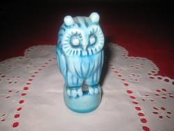 Zsolnay  kék ,  art deco  bagoly , kék  , 8 cm