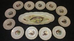 Eredeti antik ritka 12+1 nagy halas porcelán készlet