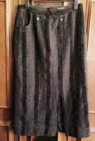Négerbarna - majdnem fekete csíkos tweed stilusú hosszú téli szoknya