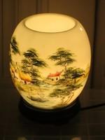 Keleti kerámia éjjeli lámpa, hangulatos, kézzel festett keleti tájképpel