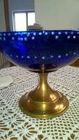 Réztalpon kék színű üvegtál
