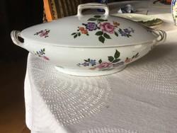 Gyönyörű antik porcelán leveses tál, Bavaria Zs&Co