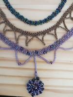 3 darab KÉZMŰVES fűzött gyöngy laklánc garnitúra, gyöngyékszer