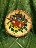 Régi Hollóházi virág mintás falitányér