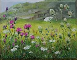 Vadvirágok a hegy lábánál - olajfestmény