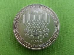 Németország ezüst emlék 25 Jahre Grundgesetz 5 Márka 1974 F