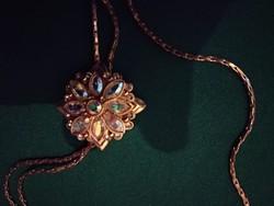 Csodaszép,állítható hosszú elegáns aranyozott virágmedálos női nyaklánc