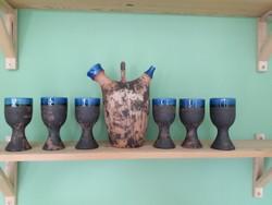 Svéd Szilasi kerámia pohár készlet, kiöntővel